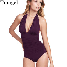 Trangel Solid Woman Swimsuit Swimwear Large Size Bathing Suit Bikini Push Up One Piece Swimsuit Female Swimwear Swim Suit