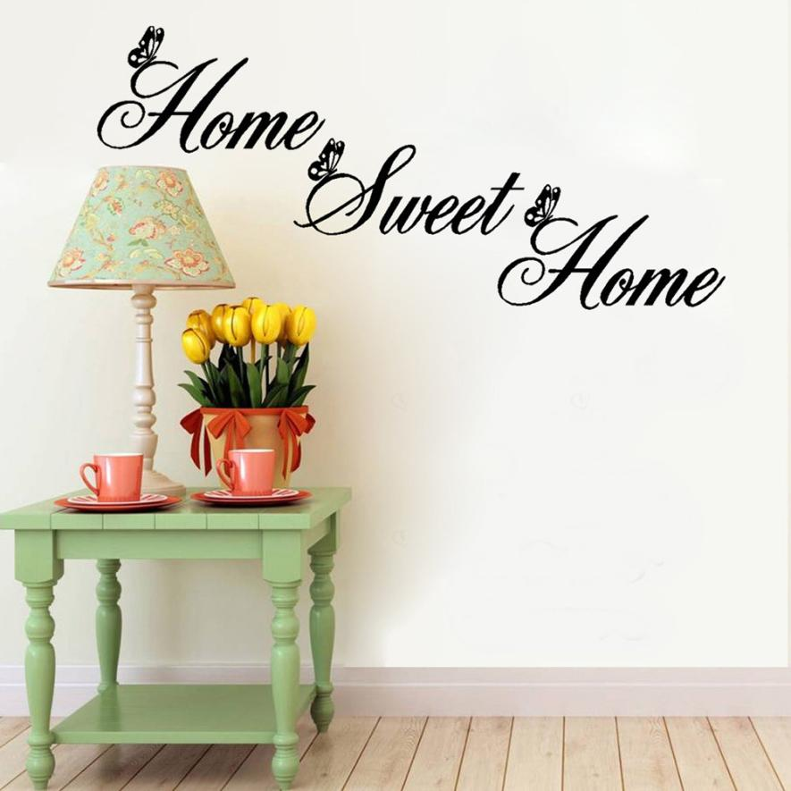 2016 Simple Words Home Sweet Home Decor Wall Stickers DIY Removable Art Mural Vinyl Bedroom Living Room Wall Decoration Decals