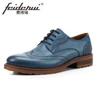 Vintage Genuine Leather Men S Handmade Footwear Round Toe Man Wingtip Flats British Designer Formal Dress