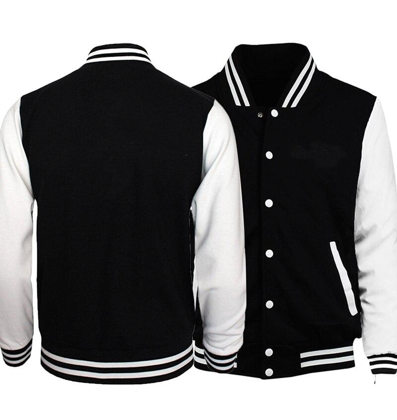 New Brand Jacket Men Black White Baseball Uniform Solid Color Jackets Spring Autumn Customize Print Sportswear Plus Size S-5XL
