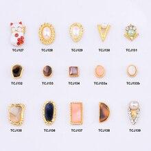 10pcs Gold metal nail decorations geometrical nail stone nagel steentjes pearl rhinestone japanese art jewelry styles TCJ127