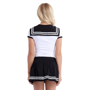 Image 3 - Womens Girls Sweet Short Sleeve Press Crotch Romper with Mini Pleated Zipper Closure Skirt Cosplay Costumes for Halloween Party