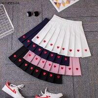 wreeima Cute Strawberry Embroidery Women Skirt High Waist A Line Pleated Skirt Sweet Girls Mini Skirt Summer Plus size S XXL