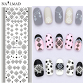 1 Hoja de Damasco Negro Agua Transferencia Nail Art Stickers Decals Vintage Brocade DS265