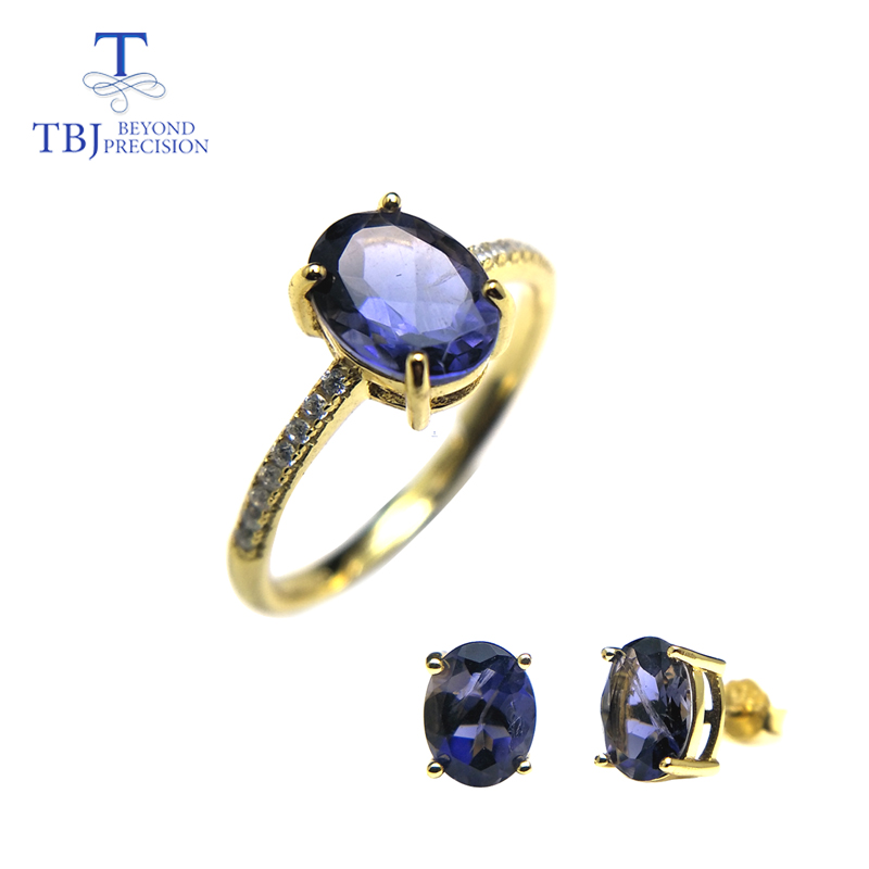 TBJ,100%natural iolite jewelry set Rings and earrings S925 silver fine jewlery yellow gold flower design for women best gift boxTBJ,100%natural iolite jewelry set Rings and earrings S925 silver fine jewlery yellow gold flower design for women best gift box
