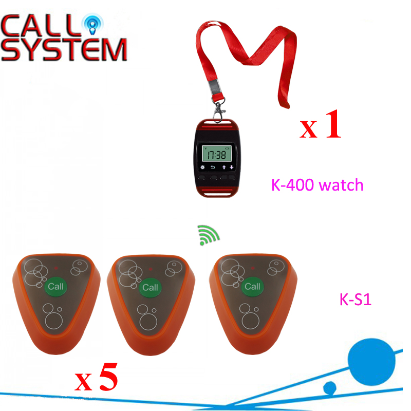 Ycall Watch Receiver with Transmitter Wireless pager call bell system service call bell pager system 4pcs of wrist watch receiver and 20pcs table buzzer button with single key
