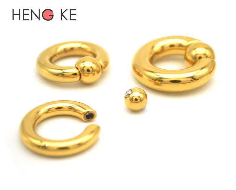 1pcs Gold Bcr Ball Close Ring Nipple Ring Piercing Spring Ball