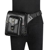 Sladuo Women/Men Black Leather Steampunk Leg Thigh Hip Holster Wallet Purse Pouch Mini Waist Packs/Messenger Bag