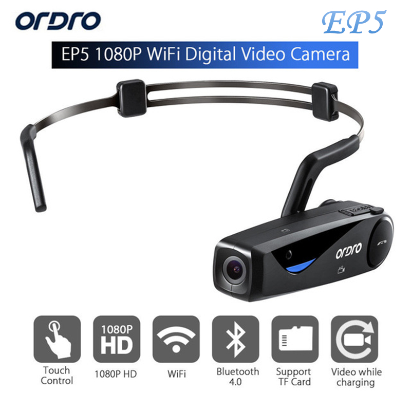 лучшая цена ORDRO EP5 Wifi 8.0 MP H.264 Bluetooth Sports Action Headset Camera CMOS HD 1080p High Definition Video Camcorder W/Microphone