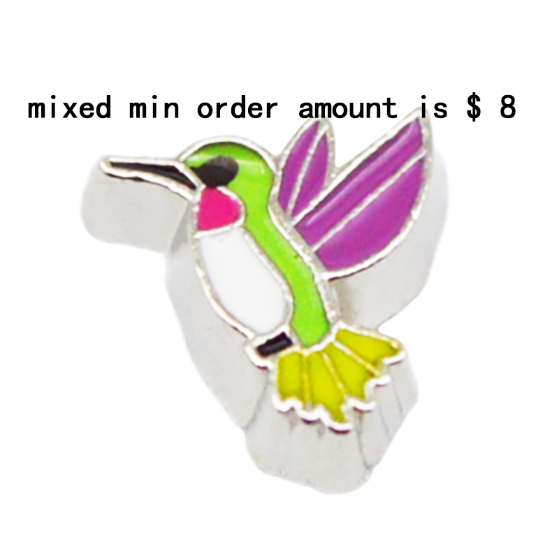 2016 Hot Sale jewelry 10pcs Bird floating charms for glass lockets,Y-60