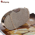 Free Shipping Female Party Luxury Evening Bag Bling Full Diamond Oval-type Wedding Bridal Handbag Shoulder Bag Purse Day Clutch