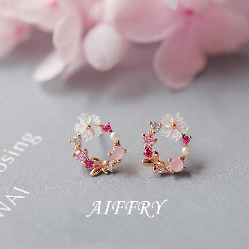 Aiffry 2018 Korean New Colorful Rhinestone Wreath Stud Earrings For Women Sweet Flower Shell Small Cirlce Brincos Gift E2451