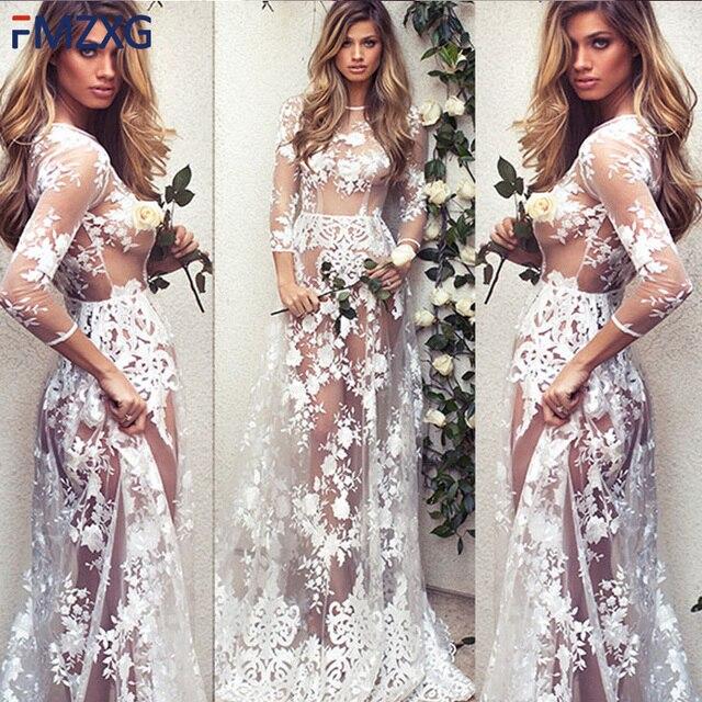 b3f4eb0d4650 Women Summer Lace Sexy Transparent O-Neck Elegant Boho Embroidery Floor Length  Dress 2018 Maxi Beach Long Sleeve Dress Plus Size