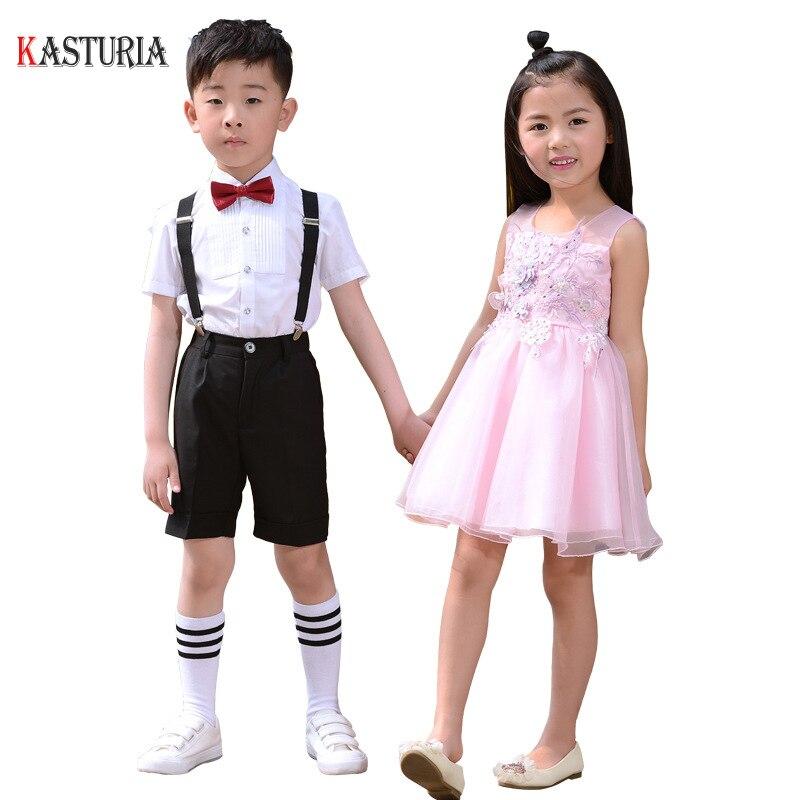 Luxury Children Clothing sets girls dresses clothes set Kindergarten pupil party ceremony costume boys shirts pants host clothes