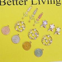 10pcs Korea Alloy Drop Oil Flowers Fashion Women Jewelry Earring With Flower Earrings Statement Trendy Diy Handmade Accessories