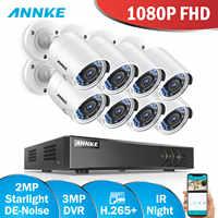 ANNKE 2MP Video Security System 3MP 8CH HD TVI CVI AHD IP 5in1 DVR 8pcs 2MP 1080P HD Smart IR Day Night Weatherproof CCTV Camera
