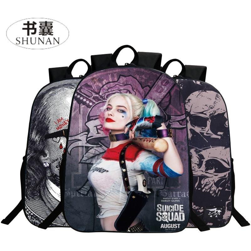 2017 Hot Sale Oxford 16 Inches Printing Suicide Squad Harley Quinn Black Women School Bags Boys for Backpack Girls Schoolbag