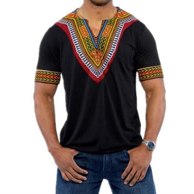 Male Retro Tshirt Africa Tops Men Dashiki T shirts African Print  Traditional Clothing Black White Red