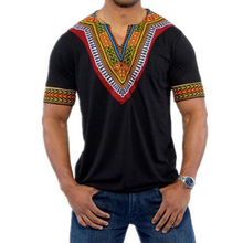 Male Retro Tshirt Africa Tops Men Dashiki T shirts African Print Traditional Clothing Black White Red Grey