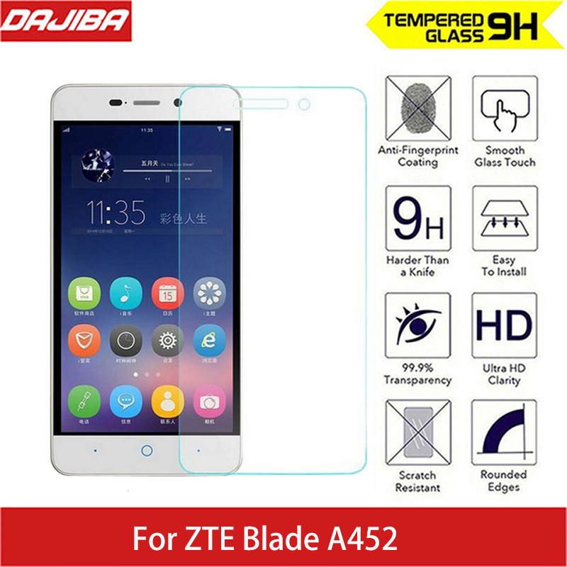 9H Tempered Screen Glass Scratch Proof for ZTE Blade A452 2.5D Arc Edge Round Border thin Screen Protector Glass For ZTE B A 452