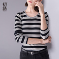 Toyouth T-Shirt 2016 Autumn& Winter New Women Stripe O-Neck Long Sleeve Slim Casual Tees