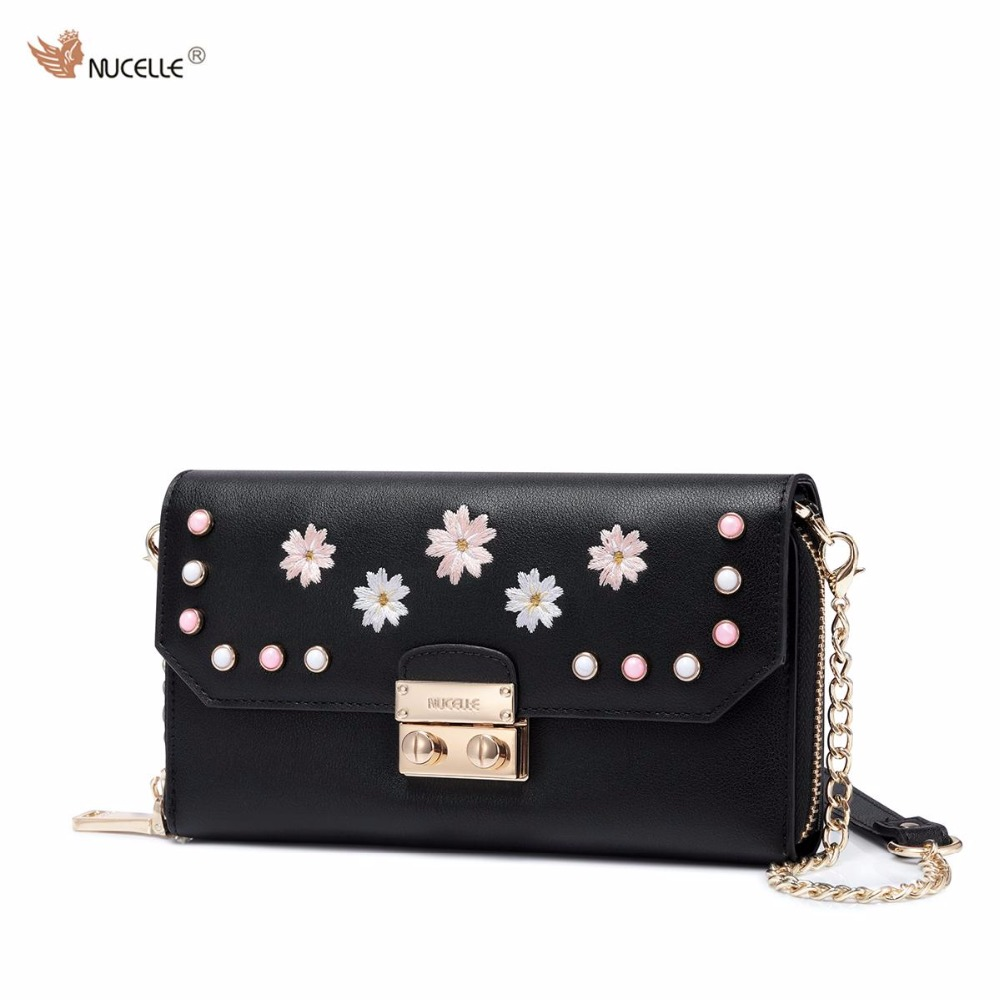 Autumn New Nucelle Brand Design Flower Rivets PU Leather Women Ladies Long Wallet Cards Holder Clutch Wallet On Chains Bag nucelle brand new design french style threads cow leather women lady long wallets clutches cards phone holder