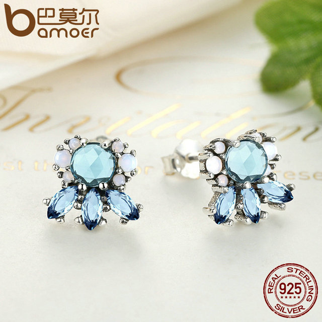 Sterling Silver Multi-Colored Crystal Frost Stud Earrings