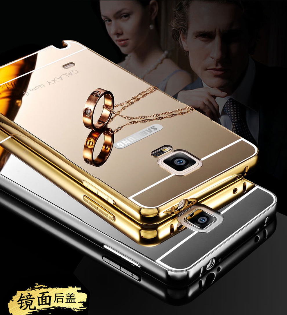 For Samsung Galaxy Note 4 Metal Cases Bumper Case Golden Plating Mirror Backcase With Aluminium Black Aluminum Frame Acrylic Back Cover Note4 Sm N9100 In Phone From