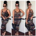 201 Women Summer Beach Print Jumpsuits Rompers Womens Jumpsuit Fashion Striped Full Length Playsuit