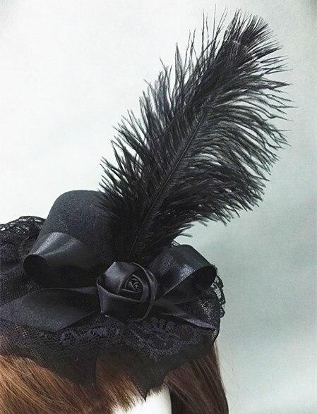 1940s Vintage Black Wool Felt Hats Goth Feather Mini Top Hats Accessories Handmade