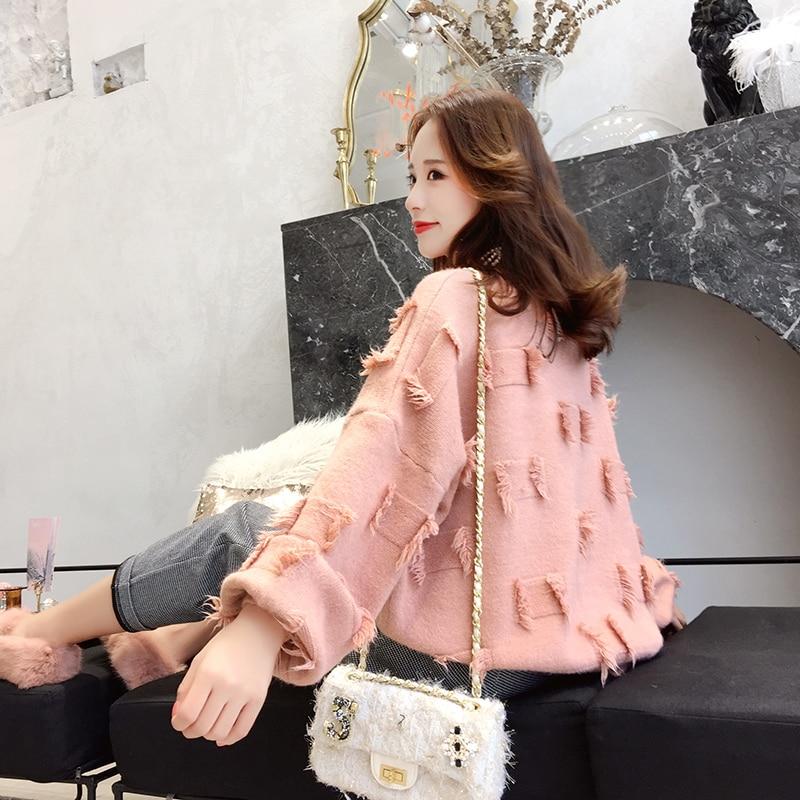 Tricoté Manteau Hiver Épaissir Lady Lâche Pink Outwear Chandails white Tops Automne green Solide Femmes Nouveau Pulls Gland Chaud 2018 q88wx6PzX