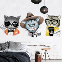 цена на Cats Cute Wall Stickers For Kids Room DIY Animal Wall Decals Art Wall Stickers Home Decor Living Room Bedroom Poster