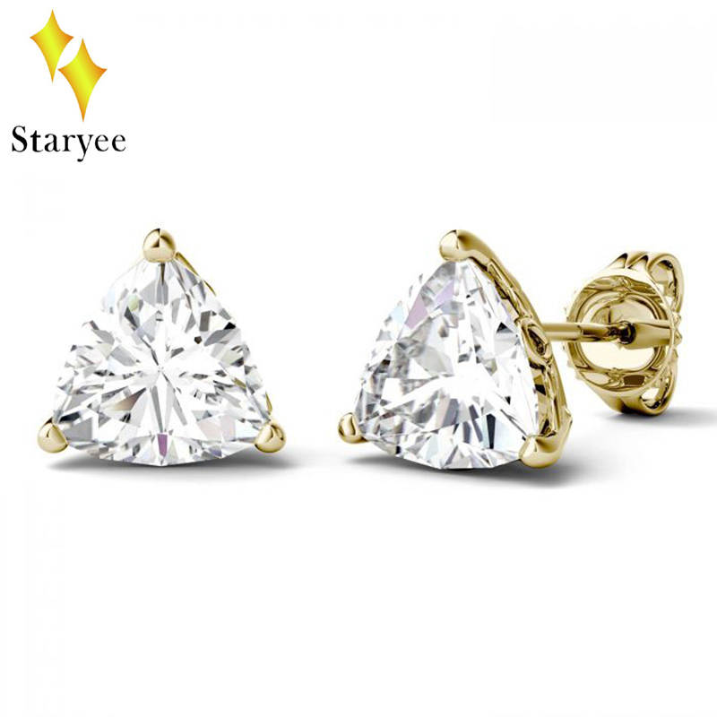 High Quality Brand Design Trillion Cut 1CT VVS DEF 18k Solid Yellow Gold Stud Earring For Wedding Engagement Gift Fine Jewellery