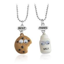 QIHE-ensemble de bijoux pour biscuits et lait, 2 pièces, pendentif meilleurs bourgeons, chaîne en perles, collier meilleur ami BFF, Mini bijoux en Miniature