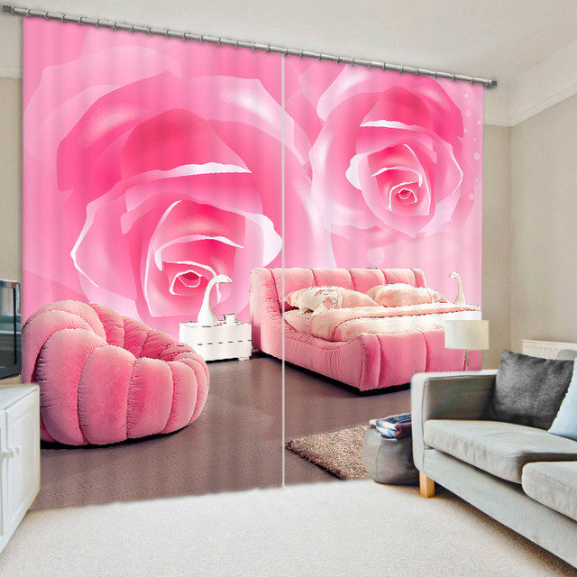 3D Printing Curtains Of Pink Color Rose With Bedding Room Living ...
