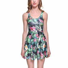 5d1ec62671 3 Patterns Women Red Flower Green leaf Summer Skater Dress Grey Yellow  Sunflower Print Pleated Dresses