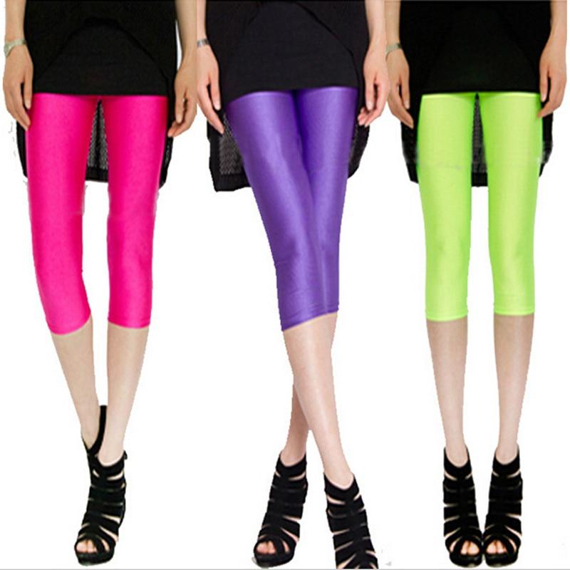 NEW WOMENS GIRLS SIZE 8-10 FANCY DRESS NEON STRETCH ELASTICATED FULL LEGGINGS