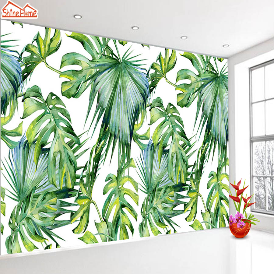 ShineHome-Banana Leaf Wallpaper 3d Nature Photo Wallpaper Rolls for Walls 3 d Livingroom Wallpapers Mural Roll Paper Background shinehome red van gogh almond blossom painting wallpaper rolls for 3d walls wallpapers for 3 d living rooms wall paper murals