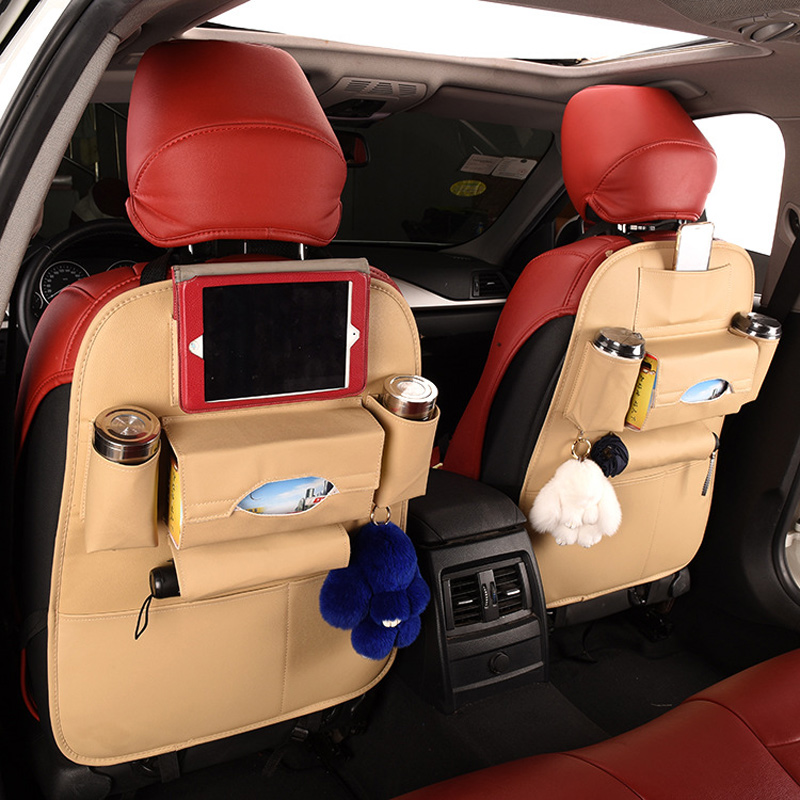 Car Storage Back Seat Bag Organizer Holder Multi-function Universal Leather Hanging Bags Car-Covers Auto Interior Accessories