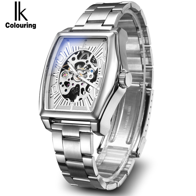 IK Gold Skeleton Lxuury Watch Men Silver Steel Band Automatic Mechanical Watches Fashion Casual Business Dress Hours ножи для рубанка makita 82 мм 2 шт пластина лезвие