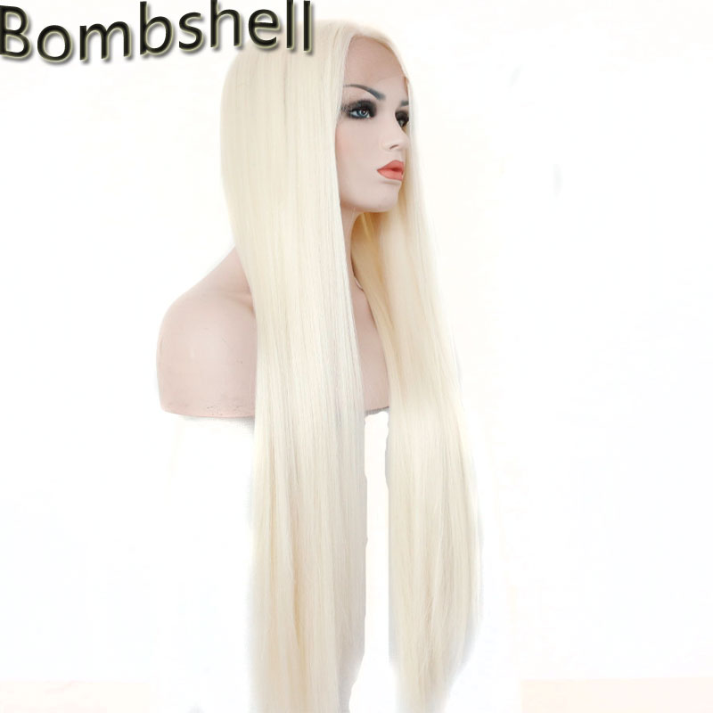 Bombshell White Blonde Color 60 Long Straight Synthetic lace front wig Natural Hairline Heat Resistant Fiber