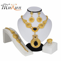 MUKUN Exquisite India Dubai Jewelry Sets for Women Bridal In Nigerian Wedding Gold Color Jewelry Set Earings Fashion Jewelry