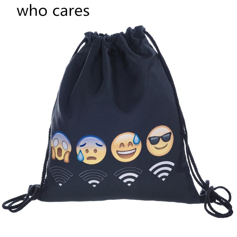 Who Cares New 3D Printing Black Wifi Emoji Backpack Women Mochila Feminina Fashion Casual Drawstring Bag Girl deanfun emoji backpack 2016 new fashion women backpacks 3d printing bags drawstring bag for men s79
