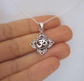 Filigree OHM OM AUM Buddha Lotus silver pendant necklace, Buddhist, yoga necklace