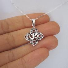 1Pcs Filigree OHM OM AUM Buddha Lotus silver pendant necklace, Buddhist, yoga necklace