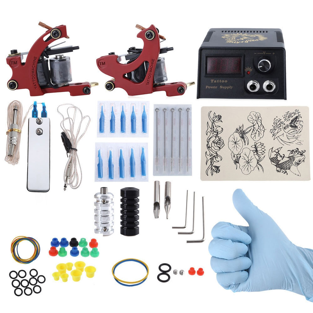 Complete Tattoo Kit DIY 2 Tattoo Machines 3RL 7M1 Needle Power Supply System With US/EU Plug animal dolls complete diy kit assorted