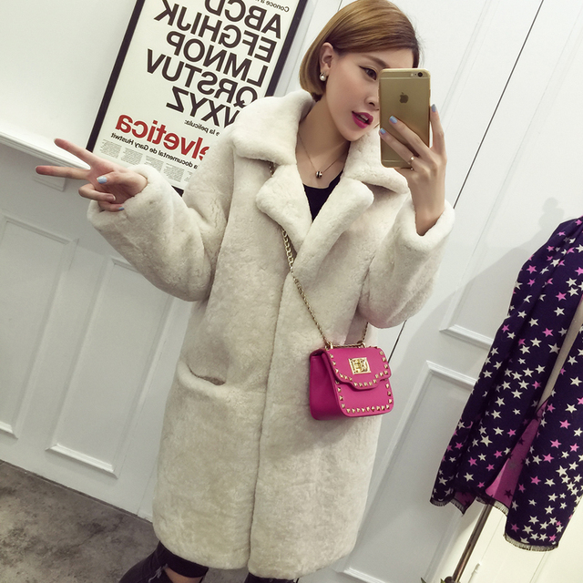 2016 winter women lamb fur coat
