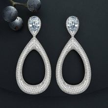 Luxury Big Water Drop Cubic Zircon Copper Earring Women High Quality Gift Engagement Wedding