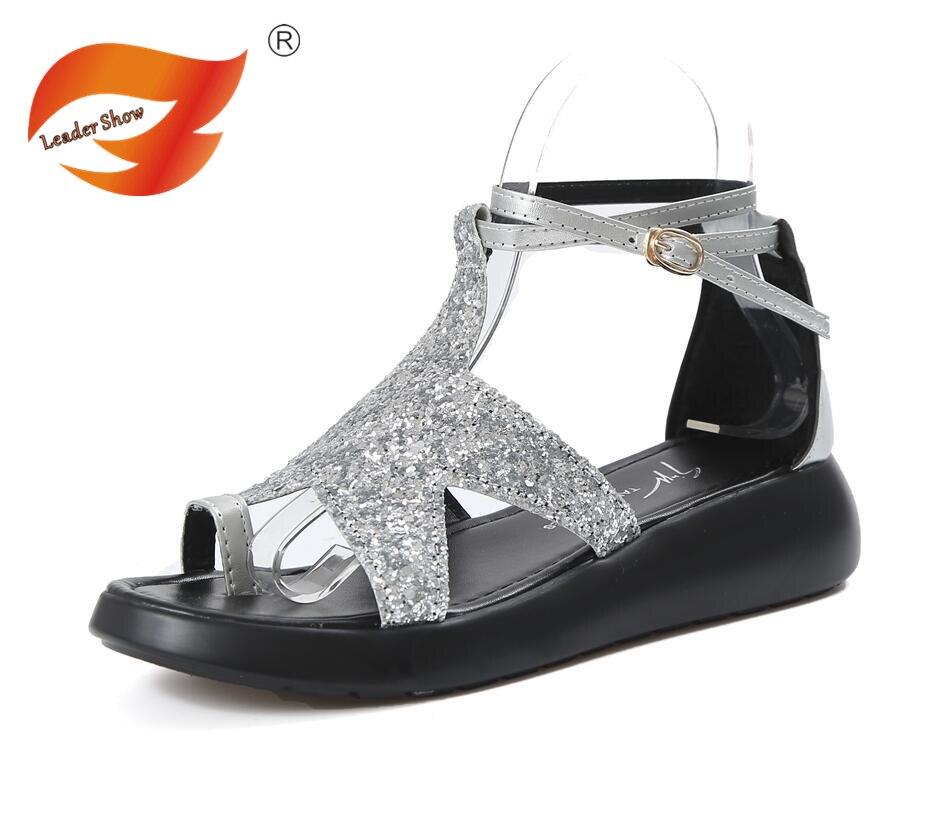silver Moda Gladiador Mujer Sandalias Verano Black Plataforma Planas De Playa Para Cómodas Mujer 17xqtw