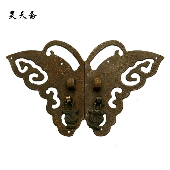 [Haotian vegetarian] Ming and Qing furniture copper fittings copper door handle Chinese handle butterfly section HTB 026